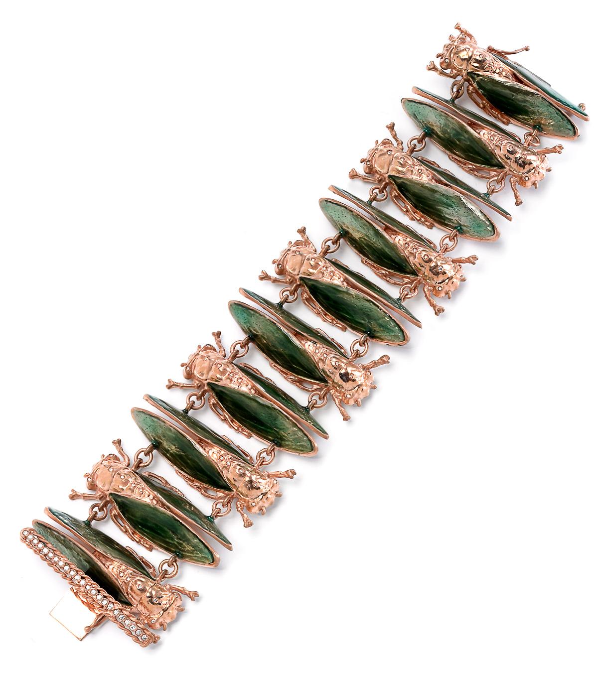 8-Imperial-moth-bracelet-925-pink-silver-diamonds-green-enamel_rid